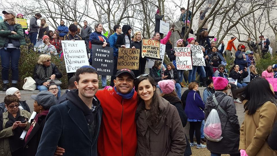 Aaron with protestors at Women's March in D.C.